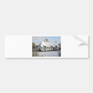 Thatched English Cottage in Snow Bumper Sticker