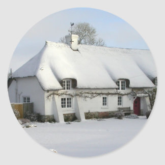 Thatched English Cottage in Snow Classic Round Sticker