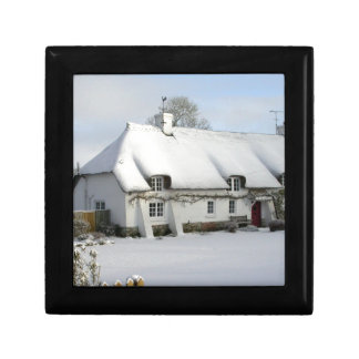 Thatched English Cottage in Snow Gift Box