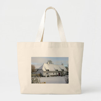Thatched English Cottage in Snow Large Tote Bag