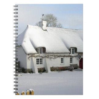 Thatched English Cottage in Snow Notebook