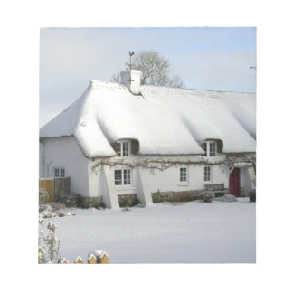 Thatched English Cottage in Snow Notepad