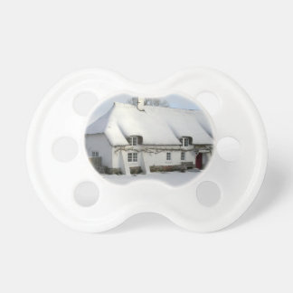 Thatched English Cottage in Snow Pacifier