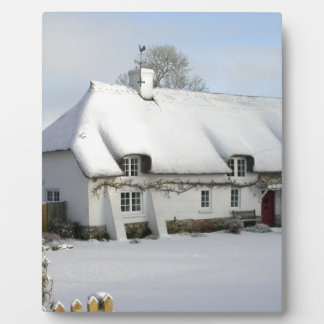Thatched English Cottage in Snow Plaque