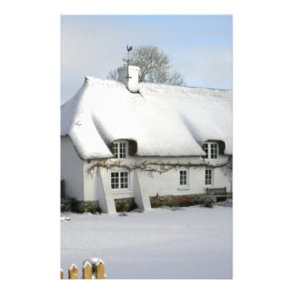 Thatched English Cottage in Snow Stationery
