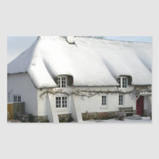 Thatched English Cottage in Snow Sticker