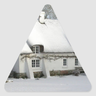 Thatched English Cottage in Snow Triangle Sticker