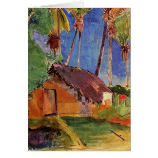 'Thatched Hut Under Palms' - Paul Gauguin Card