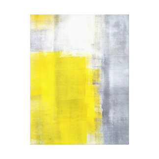 'That's It' Grey and Yellow Abstract Art Canvas Print
