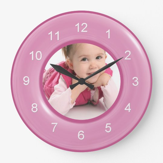 That's My Girl Shiny Pink Ring Custom Photo Large Clock
