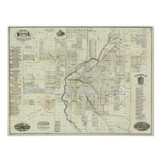 Thayer's Map of Denver Colorado Poster