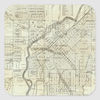 Thayer's Map of Denver Colorado Square Sticker