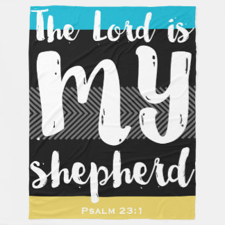 The 23rd Psalm Black with White Hand Lettered Fleece Blanket