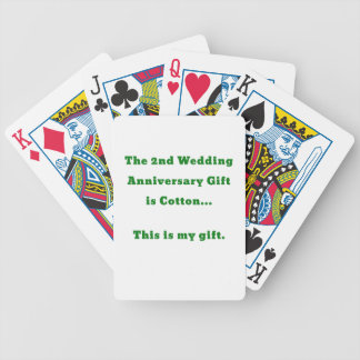 The 2nd Wedding Anniversary Gift is Cotton This Bicycle Playing Cards