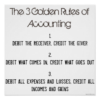 """""""The 3 Golden Rules of Accounting"""" Poster"""