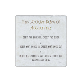 """""""The 3 Golden Rules of Accounting"""" Stone Magnets"""