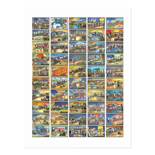 The 50 States Of America Postcard
