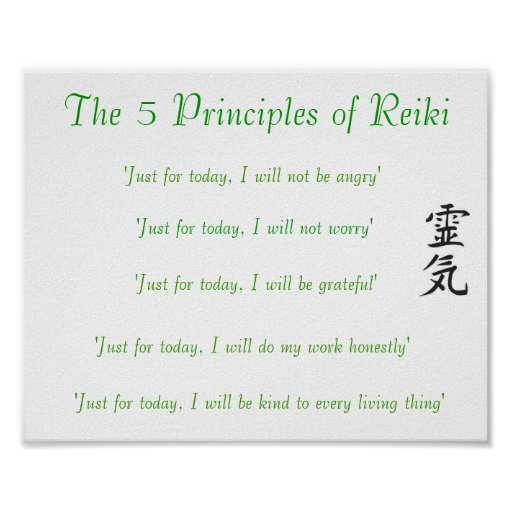 The 5 Principles Of Reiki Poster Zazzle Ca