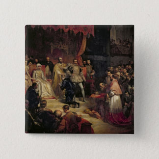 The Abdication of Charles V  1841 2 Inch Square Button