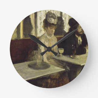 The Absinthe Drinker or L'Absinthe by Edgar Degas Round Clock