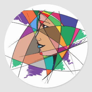 The Abstract Woman by Stanley Mathis Round Sticker