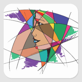 The Abstract Woman by Stanley Mathis Square Sticker