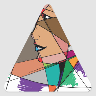 The Abstract Woman by Stanley Mathis Triangle Sticker