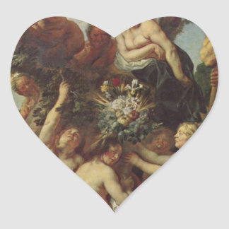 The Abundance of the Earth by Jacob Jordaens Heart Sticker