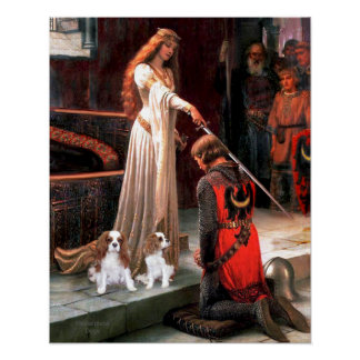 The Accolade with 2 Blenheim Cavalier King Charles Poster