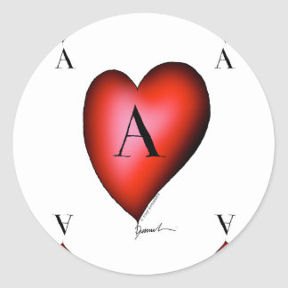The Ace of Hearts by Tony Fernandes Classic Round Sticker
