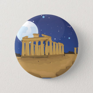 The Acropolis of Athens cartoon 2 Inch Round Button