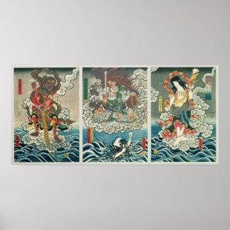 The actor Ichikawa Ebizo V as the deity Fudo Myoo Poster