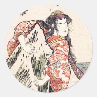 The Actor Segawa Kikunojo III in a Female Role Classic Round Sticker