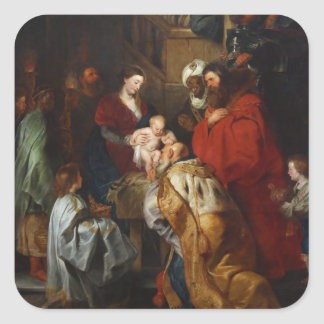 The Adoration of the Magi by Peter Paul Rubens Square Sticker