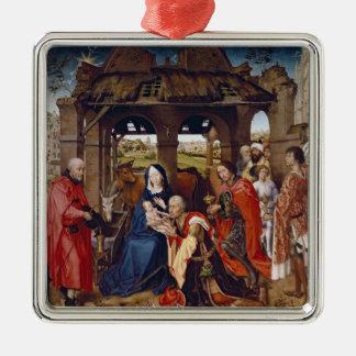 The Adoration of the Magi, c.1455 Silver-Colored Square Ornament