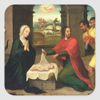 The Adoration of the Shepherds, 1550-60 Square Sticker