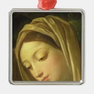 The Adoration of the Shepherds 2 Silver-Colored Square Ornament
