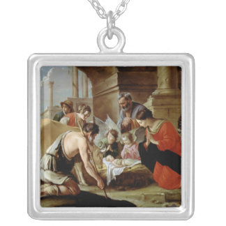 The Adoration of the Shepherds, c.1638 Silver Plated Necklace