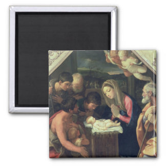 The Adoration of the Shepherds, c.1640-42 Square Magnet