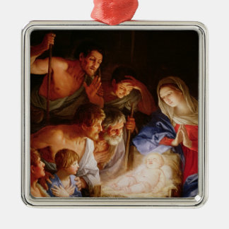 The Adoration of the Shepherds Silver-Colored Square Ornament