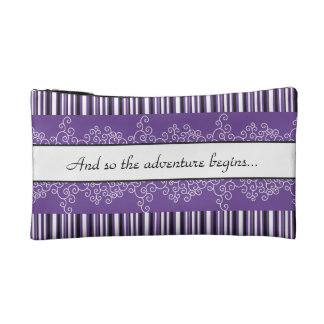 The Adventure Begins Purple Cosmetics Bags