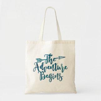 The Adventure Begins Watercolor Bag