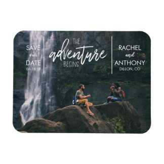 The Adventure Begins   Wedding Save the Date Photo Magnet