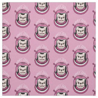 The adventure of a cute Frenchie spaceman Fabric