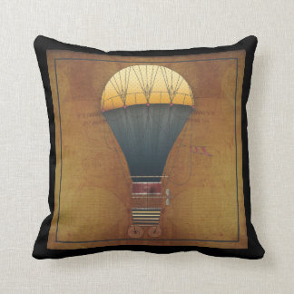 The Airship Abeelle Steampunk Flying Machine Throw Pillow
