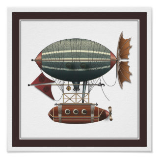 The Airship Aleutian Steampunk Flying Machine Poster