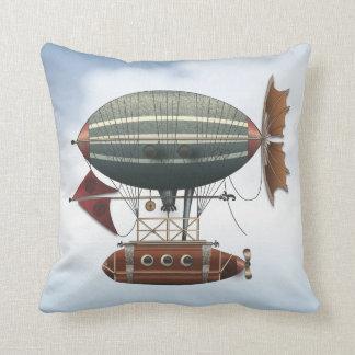 The Airship Aleutian Steampunk Flying Machine Throw Pillow