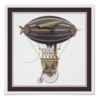 The Airship Penny Farthing Fantasy Flying Machine Poster