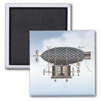 The Airship Petite Noir Steampunk Flying Machine Magnet