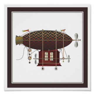 The Airship Petite Rouge Steampunk Flying Machine Poster